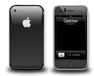 Черная карбоновая наклейка на iPhone 3