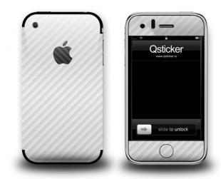 Белая карбоновая наклейка на iPhone 3