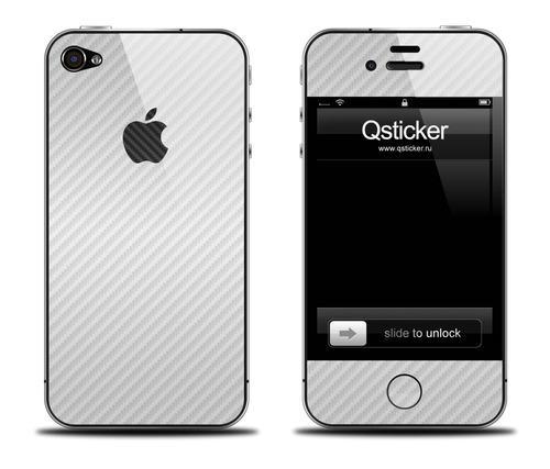 Белая карбоновая наклейка на iPhone 4