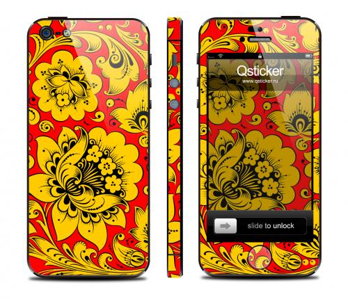 Наклейка Qsticker для iPhone 5 - дизайн Hohloma Yellow