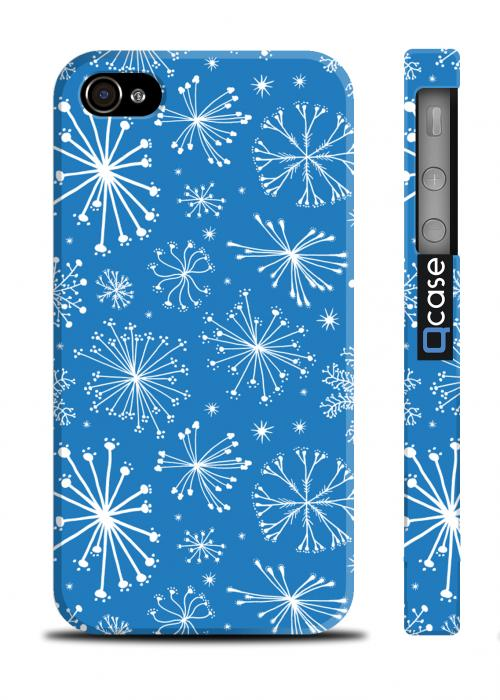 Классный чехол со снежинками для iPhone 4/4S - Snowflakes Blue