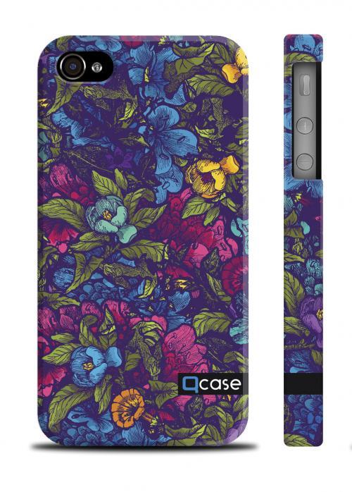 Купить чехол Qcase iPhone 4/4S, Киев - Flowers violet