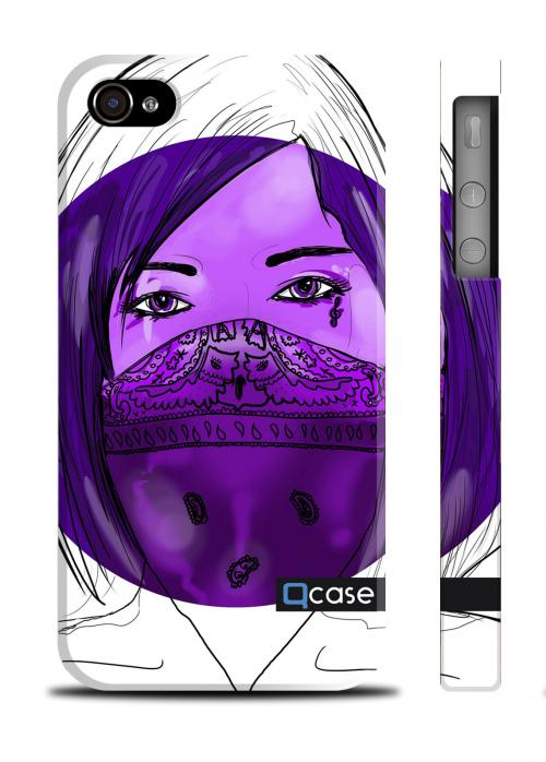 Дизайнерский чехол QCase iPhone 4/4S, Киев -  Dange (Violet Girl)
