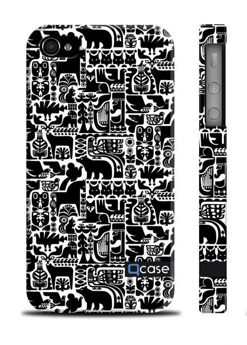 Пластиковый чехол с черно-белым принтом QCase iPhone 4/4S - Marimekko Black