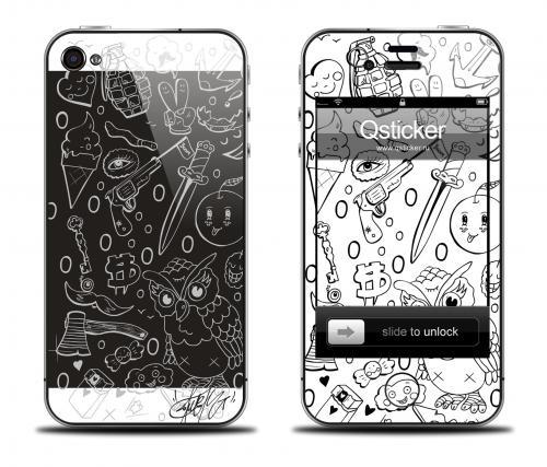 Наклейка на iPhone 4/4S - дизайн Danger Doodle Art