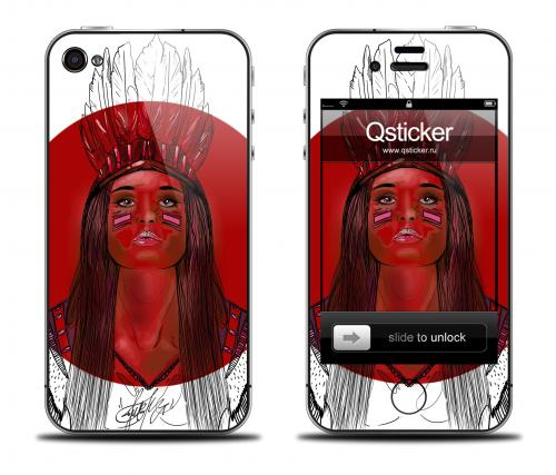 Наклейка на iPhone 4/4S - дизайн Danger Red Girl