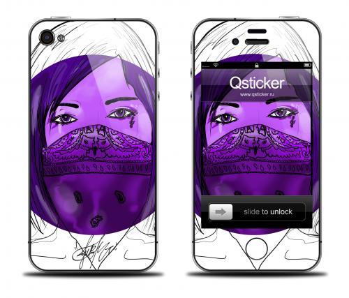 Наклейка на iPhone 4/4S - дизайн Danger Violet Girl