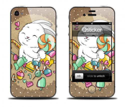 Наклейка на iPhone 4/4S - дизайн I Love Candy