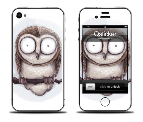 Наклейка на iPhone 4/4S - дизайн Mamaeva Owl