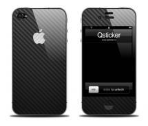Черная карбоновая наклейка на iPhone 4