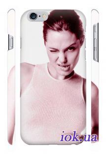 Заказать печать на чехле Qcase на iPhone 6 Plus - Анжелина Джоли