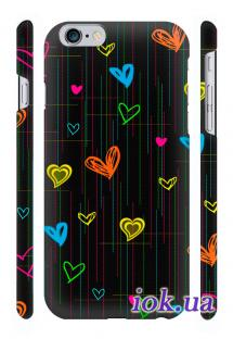 Чехол Qcase с 3D печатью на iPhone 6 Plus - Сердечки