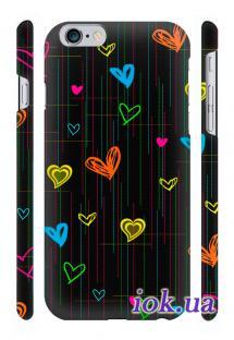 Защитный чехол Qcase с печатью на iPhone 6 Plus в Киеве - Сердечки