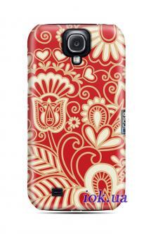 Чехол QCase на Galaxy S4 - red etno