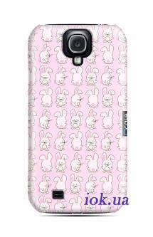 Чехол QCase на Galaxy S4 - rabbit pattern