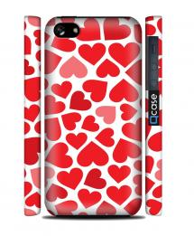 Чехол QCase на iPhone 5C - Red Hearts