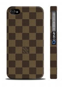 Чехол с шахматным принтом Луи Витон для iPhone 4/4S - LV Dark Squares
