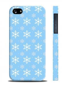 Новогодний чехол со снежинками для iPhone 5/5S - Snowflakes Light Blue