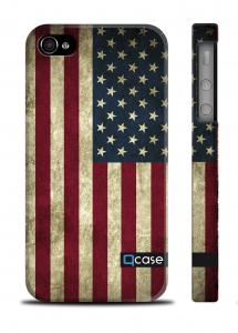 Чехол Qcase с флагом на iPhone 4/4S - Flag USA