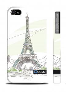 Чехол Qcase с рисунком iPhone 4/4S - Paris - Eiffel Tower