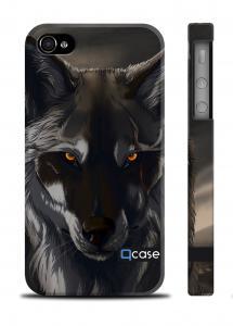 Авторский чехол Qcase с волком iPhone 4/4S