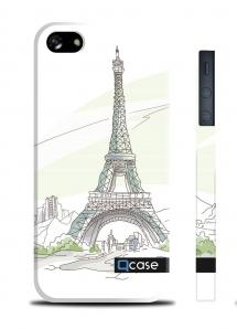 Чехол QCase с 3D печатью для iPhone 5/5S - Paris - Eiffel Tower