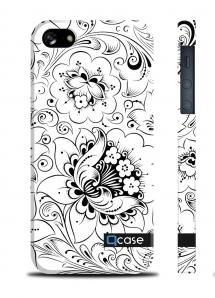 Оригинальный чехол QCase с цветочным принтом для iPhone 5/5S - Hohloma White