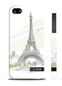 Чехол QCase с 3D печатью для iPhone 5/5S - Paris - Eiffel Tower