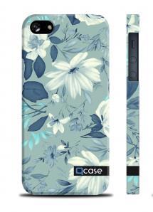 Чехол QCase с нежным рисунком для iPhone 5/5S - Flowers Blue