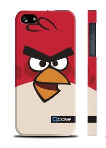 Прикольный чехол QCase с птичкой для iPhone 5/5S - Angry Bird Red