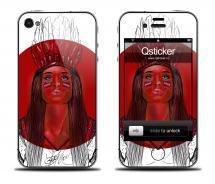 Наклейка на iPhone 4/4S - дизайн Danger Red Girl
