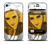 Наклейка на iPhone 4/4S - дизайн Danger Yellow Girl
