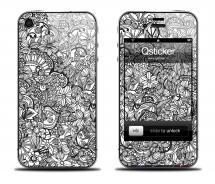 Наклейка на iPhone 4/4S - дизайн Doodle Art