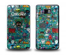 Наклейка Qsticker на Samsung Galaxy S2 - Clipart Green